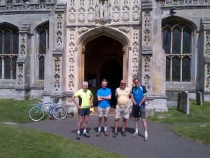 John B, Ken, Maurice and Martin outside Lavenham Church