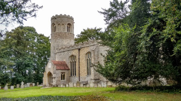We always stop to admire a round tower church; this one is St Nicholas, Lower Saxham