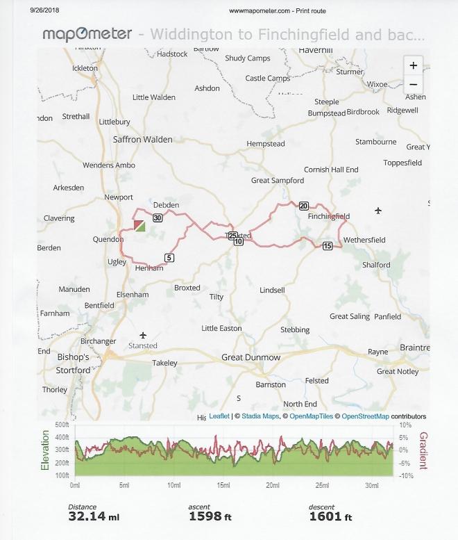 Widdington to Finchingfield and back