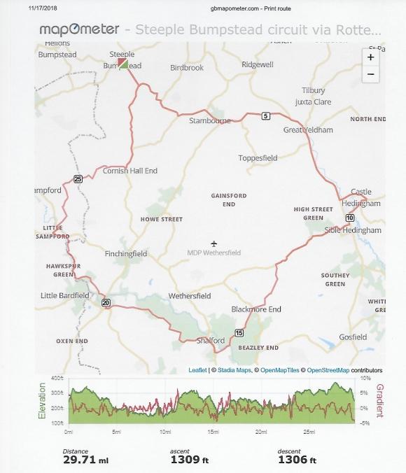 Bike ride Steeple Bumpstead 15 Nov 18