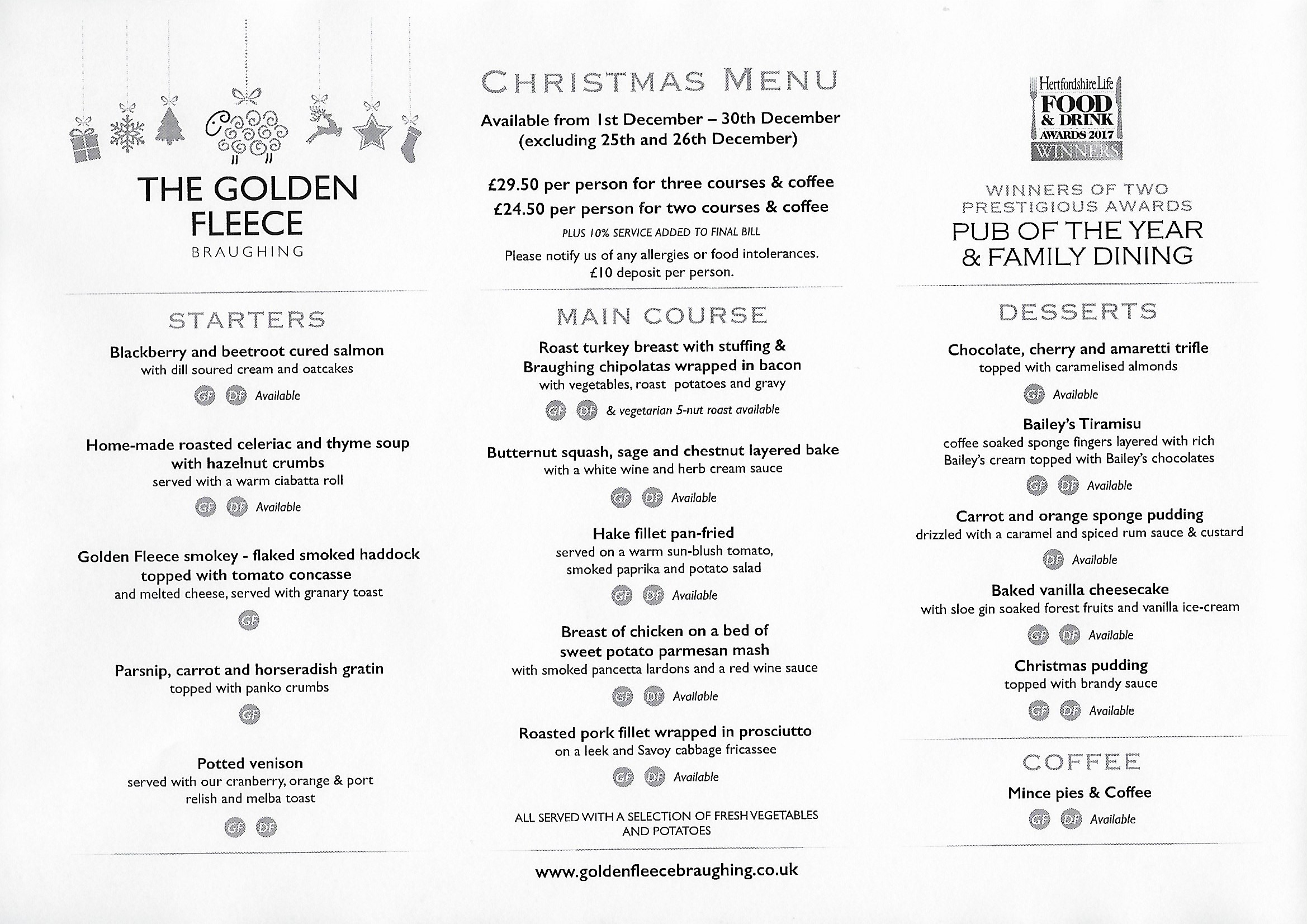 Golden Fleece menu